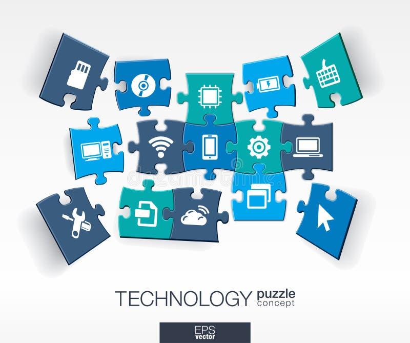 Fundo abstrato da tecnologia, enigmas conectados da cor, ícones lisos integrados conceito 3d infographic com tecnologia, nuvem ilustração royalty free