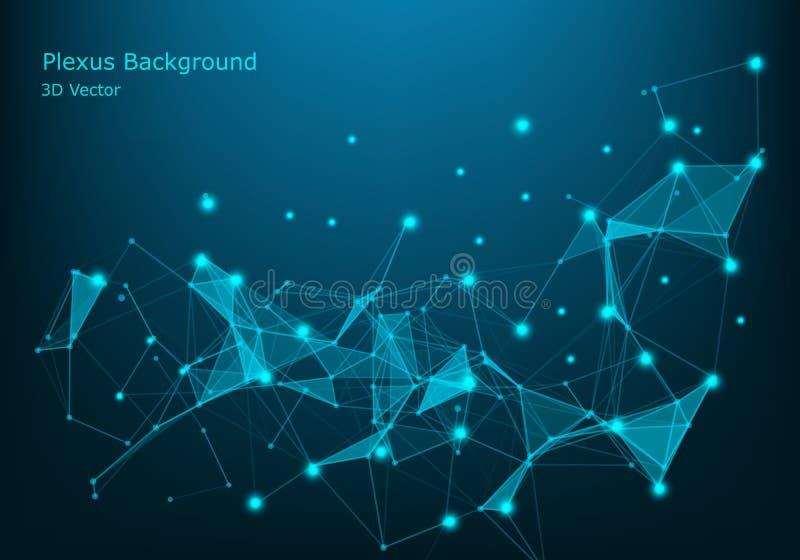 Fundo abstrato da tecnologia Estrutura da conexão de rede Fundo da ciência Fundo digital dos dados grandes vetor 3d ilustração stock