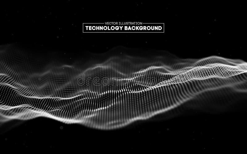 Fundo abstrato da tecnologia Grade do fundo 3d Wireframe futurista da rede do fio da tecnologia do Ai da tecnologia do Cyber ilustração royalty free