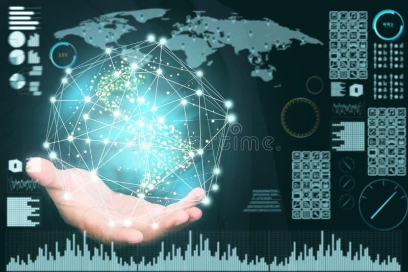Fundo abstrato da tecnologia, inovativo criativos, ideia e conceito de pensamento futurista imagem de stock