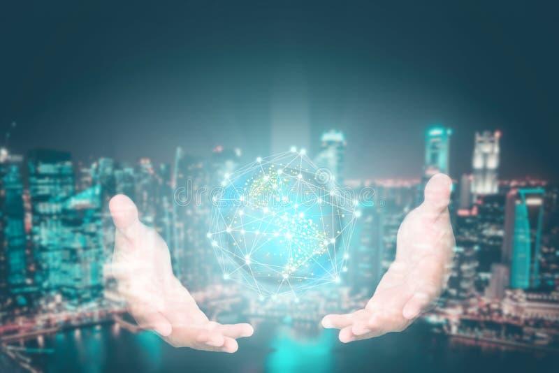 Fundo abstrato da tecnologia, inovativo criativos, ideia e conceito de pensamento futurista imagens de stock