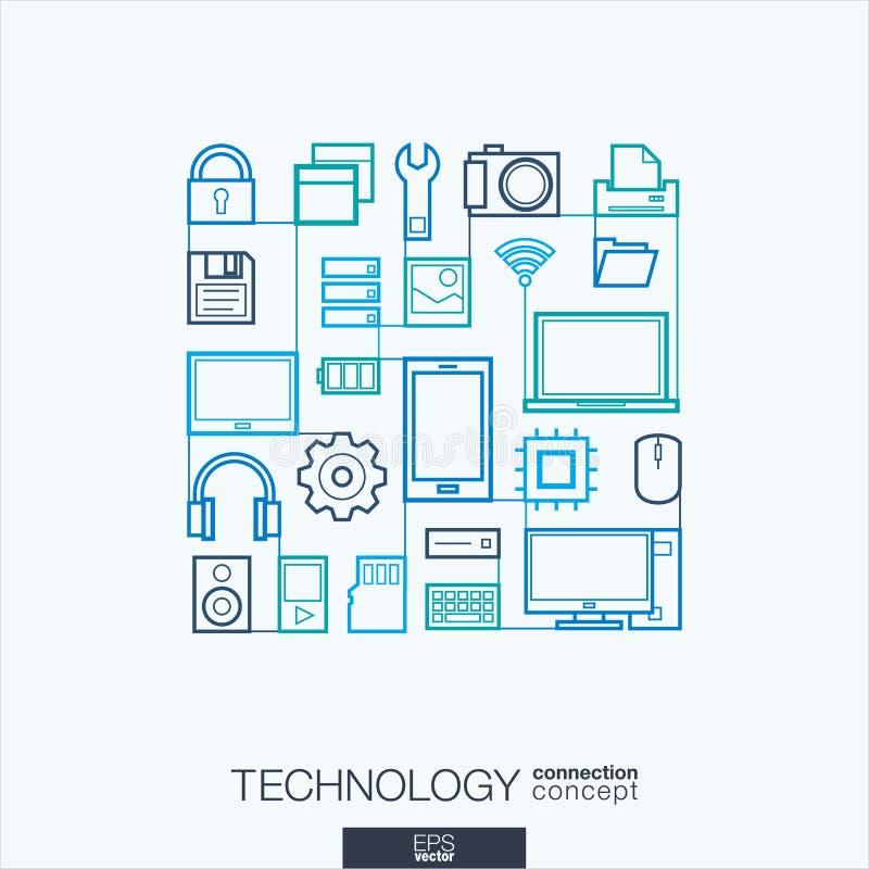 Fundo abstrato da tecnologia, linha fina integrada símbolos ilustração royalty free