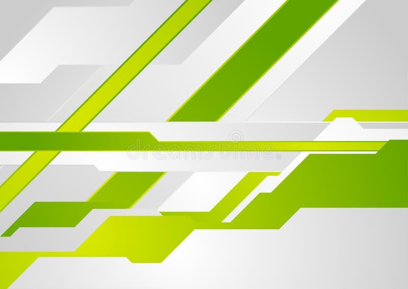 Fundo abstrato da tecnologia mínima geométrica verde do cinza ilustração do vetor