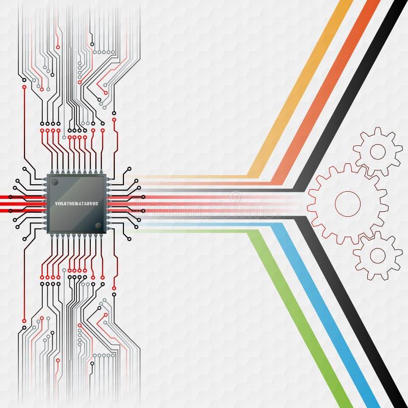 Fundo abstrato da tecnologia; Microplaqueta eletrônica conectada na placa de circuitos ilustração stock