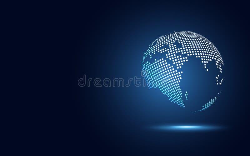 Fundo abstrato da tecnologia da transformação digital futurista do globo Terra grande dos dados e economia do negócio e do invest ilustração royalty free