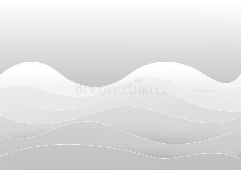 Fundo abstrato da textura branca e cinzenta da onda Projeto de papel ilustração do vetor