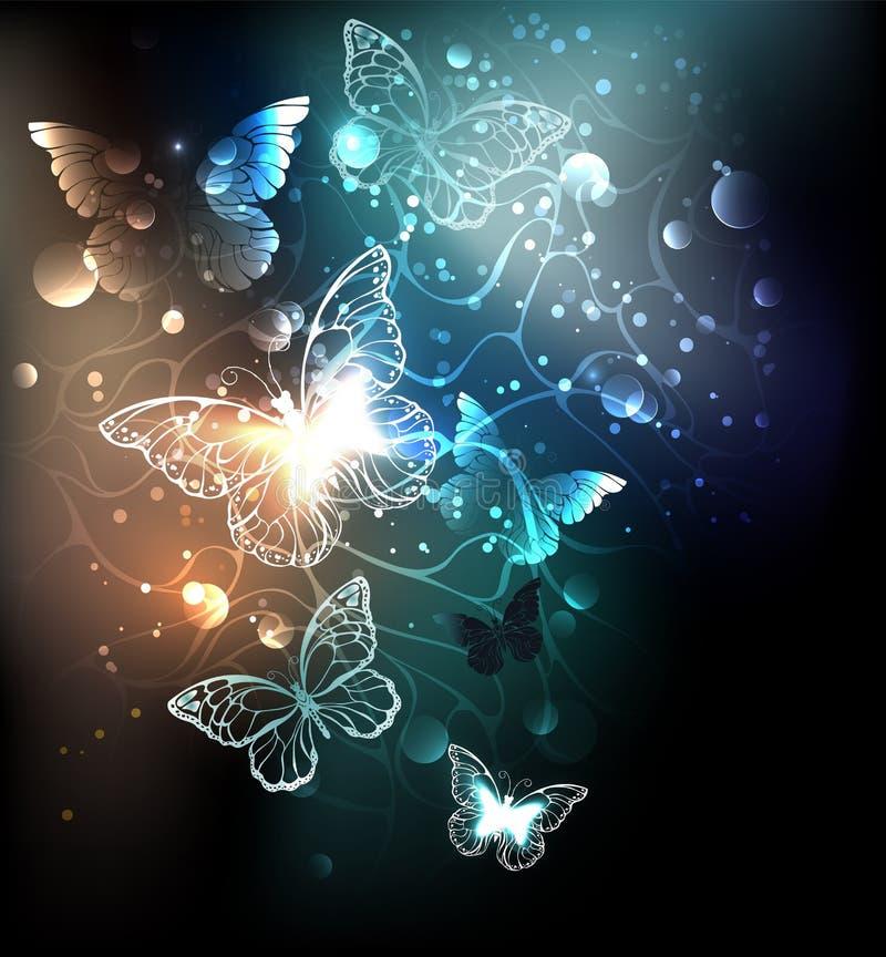 Fundo abstrato das borboletas brilhantes da noite ilustração stock