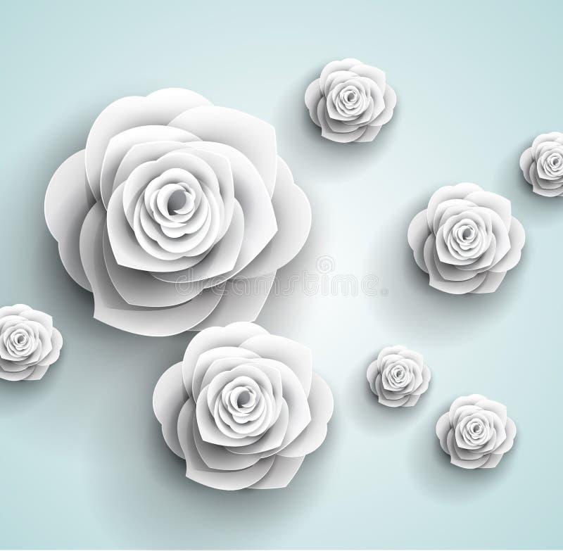 Fundo abstrato das flores bonitas do origâmi ilustração do vetor