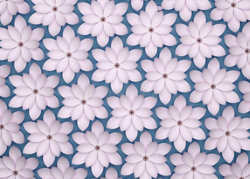 Fundo abstrato das flores de papel Teste padrão 3D monocromático ilustração stock
