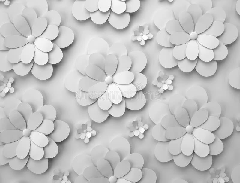 Fundo abstrato das flores de papel Teste padrão 3D monocromático ilustração do vetor