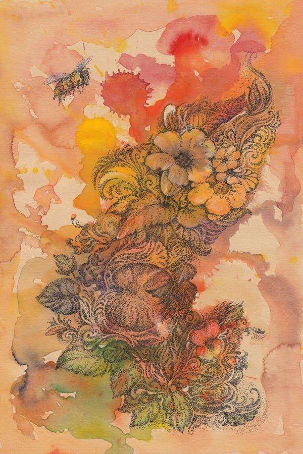 Fundo abstrato das flores e de abelhas escritas à mão, aquarela ilustração stock