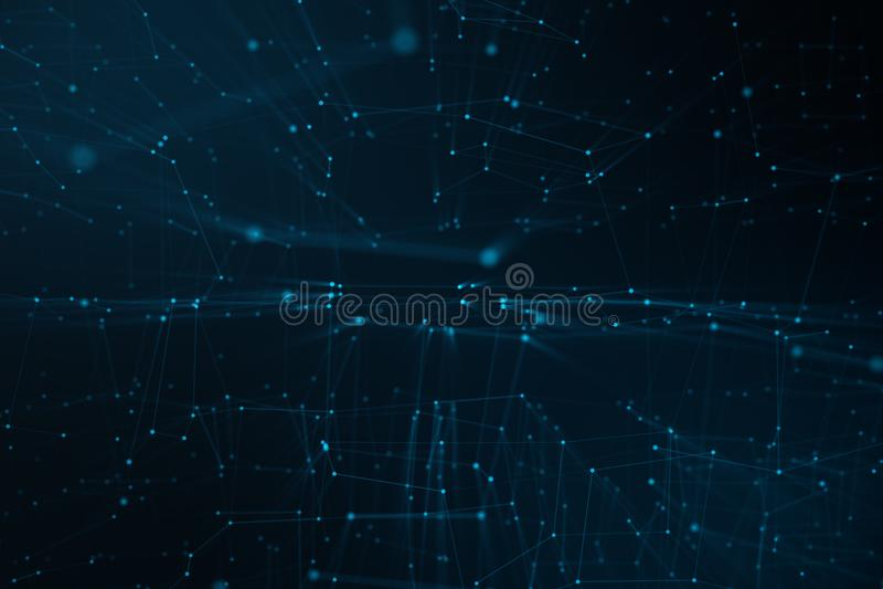 Fundo abstrato das linhas e dos pontos, baixa malha poli Tecnologia das conexões a Internet Conceito de conexões neurais imagens de stock royalty free
