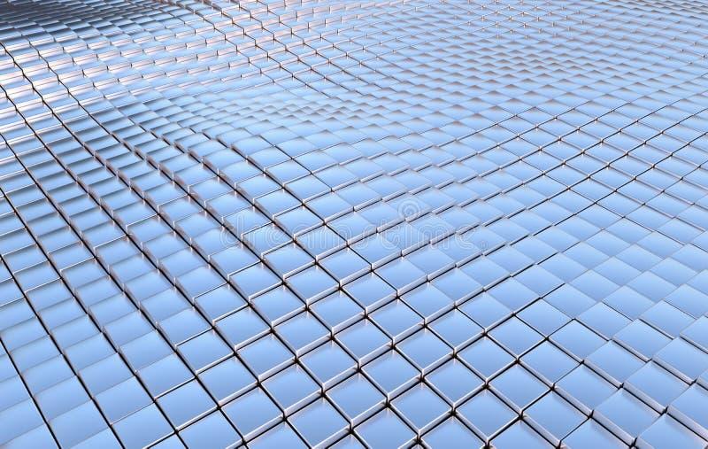 Fundo abstrato das ondas dos cubos do metal ilustração do vetor