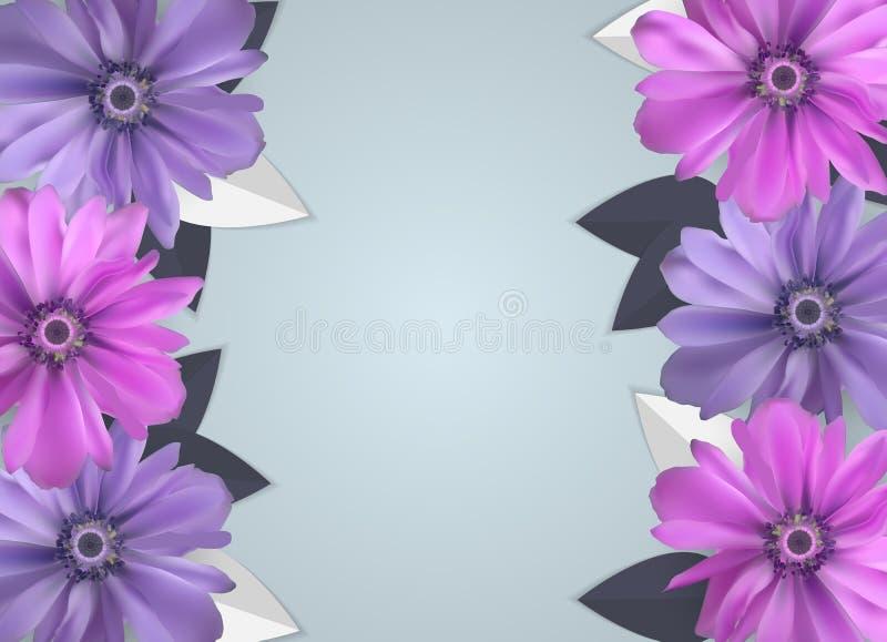 Fundo abstrato de Anemone Flower Realistic Vetora Frame ilustração do vetor