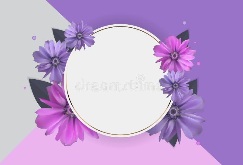 Fundo abstrato de Anemone Flower Realistic Vetora Frame ilustração stock