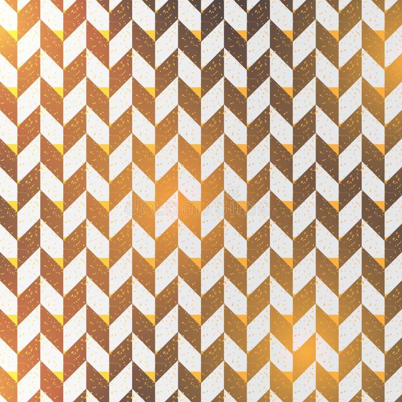 Fundo abstrato de desenhos em espinha as cores pretas surgem o teste padrão com linhas diagonais da viga com luz dourada Geométri ilustração stock