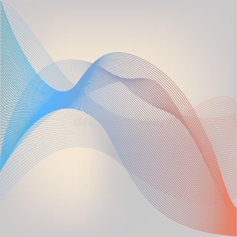 Fundo abstrato de Digitas com as ondas azuis vermelhas de fluxo da partícula Internet ou ilustração da tecnologia ilustração royalty free