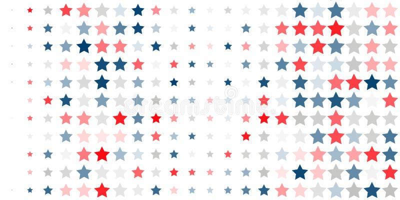 Fundo abstrato de estrelas vermelhas, azuis, brancas ilustração do vetor