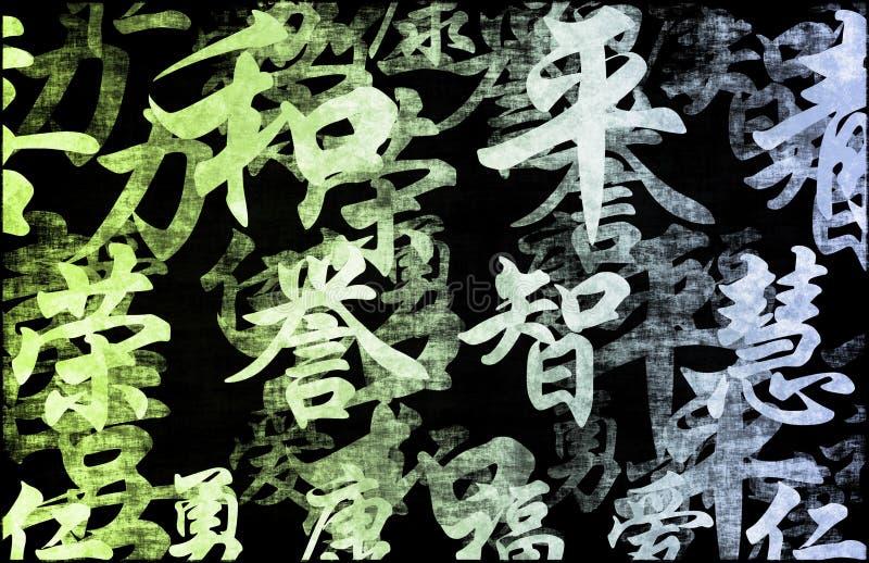 Fundo abstrato de Grunge do zen do verde azul ilustração do vetor
