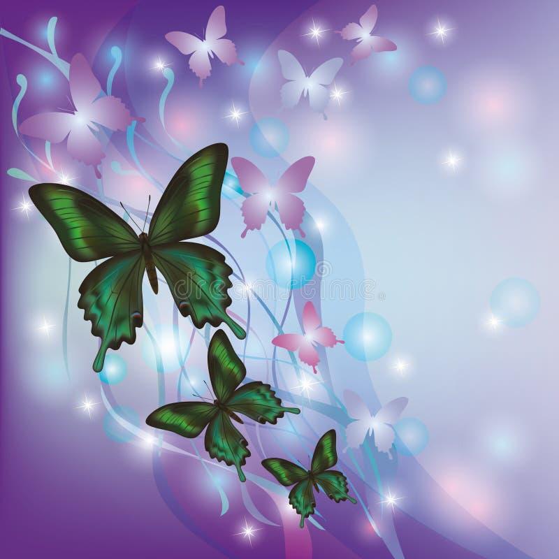 Fundo abstrato de incandescência claro com borboletas ilustração do vetor