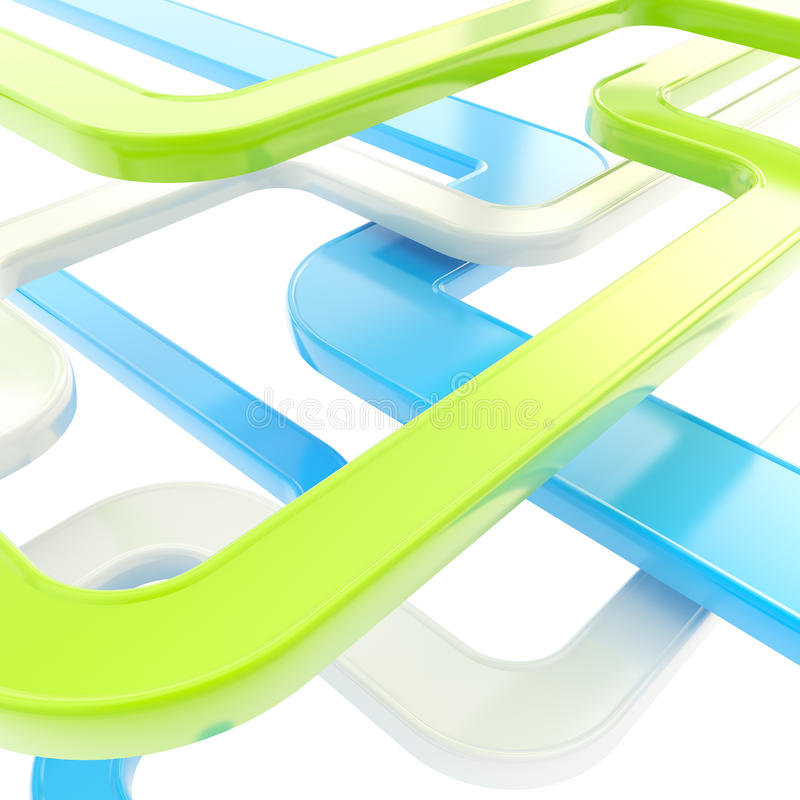 Fundo abstrato de linhas lustrosas curvadas no branco ilustração stock
