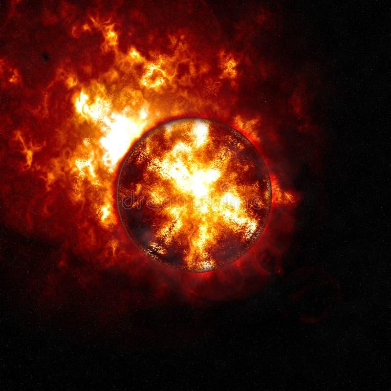 Fundo abstrato de planeta ou de sol ardente apocalypse Planeta de explosão ilustração royalty free