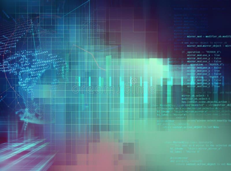 Fundo abstrato de programação da tecnologia do código do colaborador de software ilustração do vetor