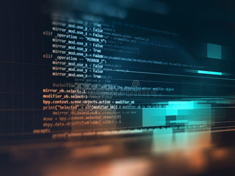 Fundo abstrato de programação da tecnologia do código do colaborador de software ilustração stock