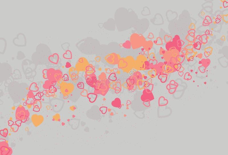 Fundo abstrato de roda desarrumado do amor do coração ilustração royalty free
