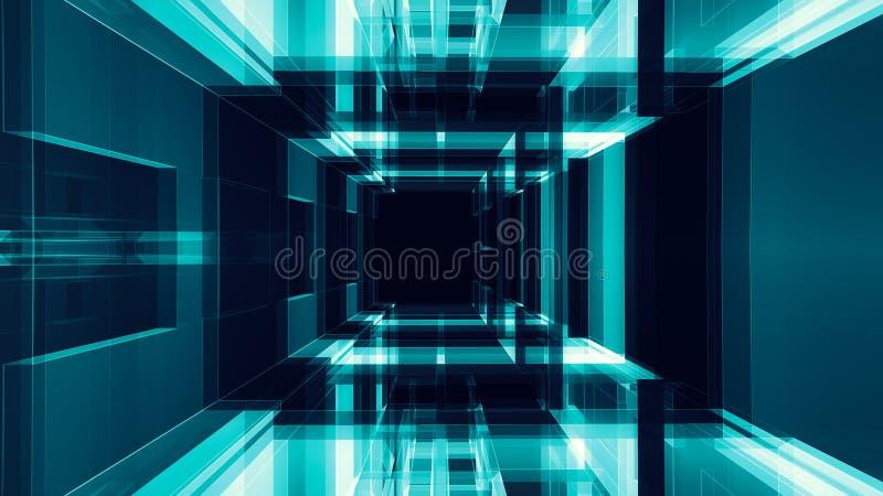 Fundo abstrato de vidro transparente da cor preta azul do fulgor ilustração stock
