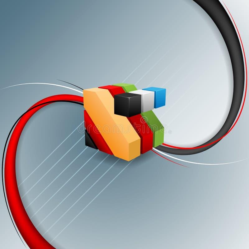 Fundo abstrato, decorativo com os três cubos coloridos das dimensões ilustração do vetor