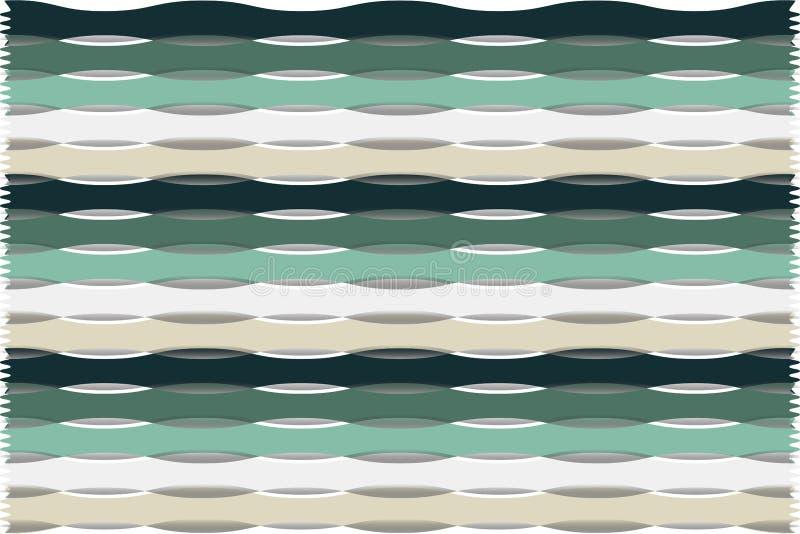 Fundo abstrato decorativo de repetir listras de verde, de branco e de bege ilustração stock
