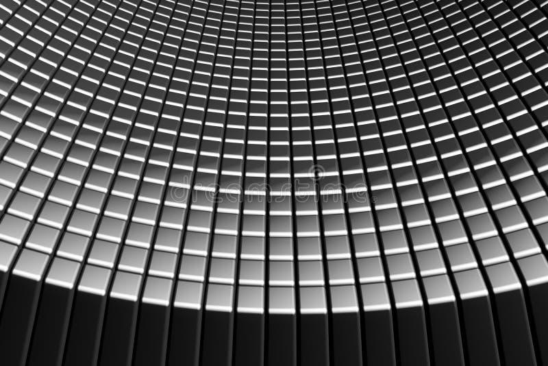 Fundo abstrato do alumínio das telhas da curva ilustração do vetor