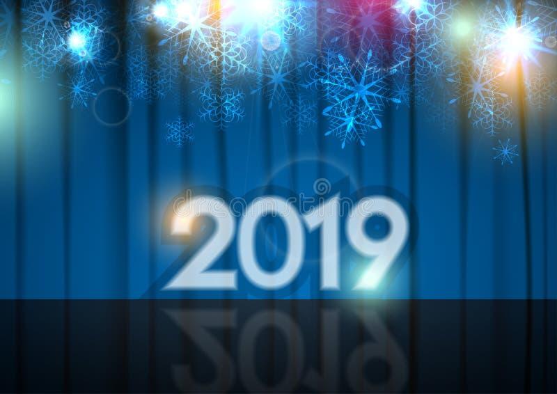 Fundo abstrato do ano novo 2019, fase e cortina azul ilustração royalty free