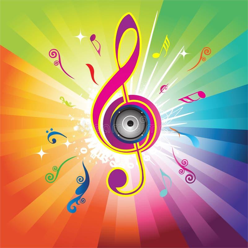 Fundo abstrato do arco-íris com chave do violino ilustração royalty free
