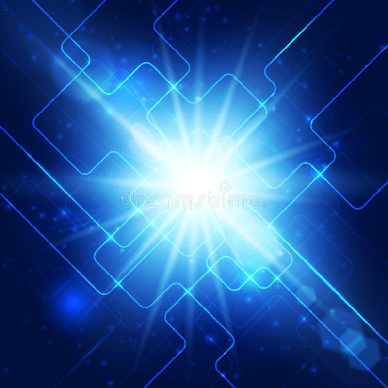 Fundo abstrato do azul da olá!-tecnologia. ilustração do vetor