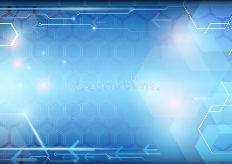 Fundo abstrato do azul da tecnologia Projeto geométrico moderno do vetor do conceito ilustração do vetor