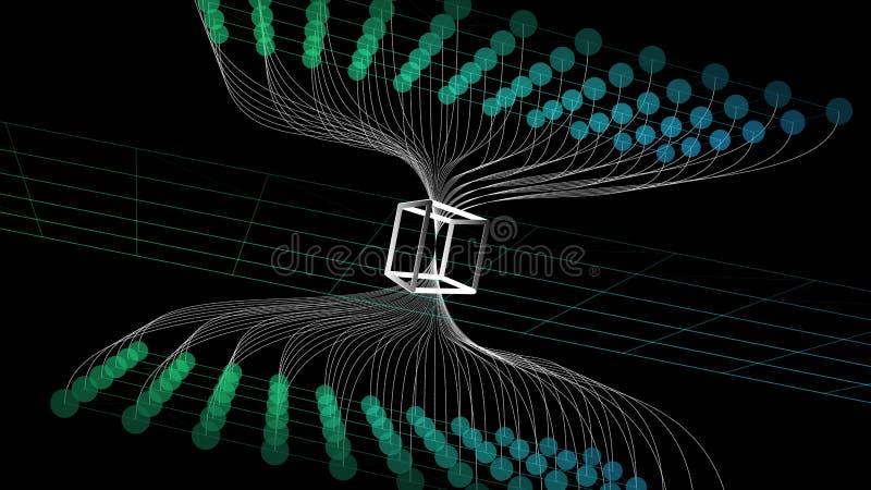Fundo abstrato do blockchain da Web Rede da tecnologia digital do conceito Ilustração do vetor ilustração royalty free