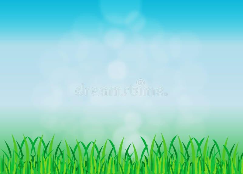 Fundo abstrato do céu azul com ilustração da grama verde ilustração do vetor