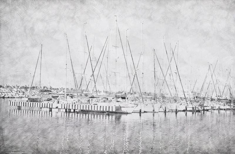 Fundo abstrato do cais do porto com barcos Pai do esboço do lápis ilustração do vetor