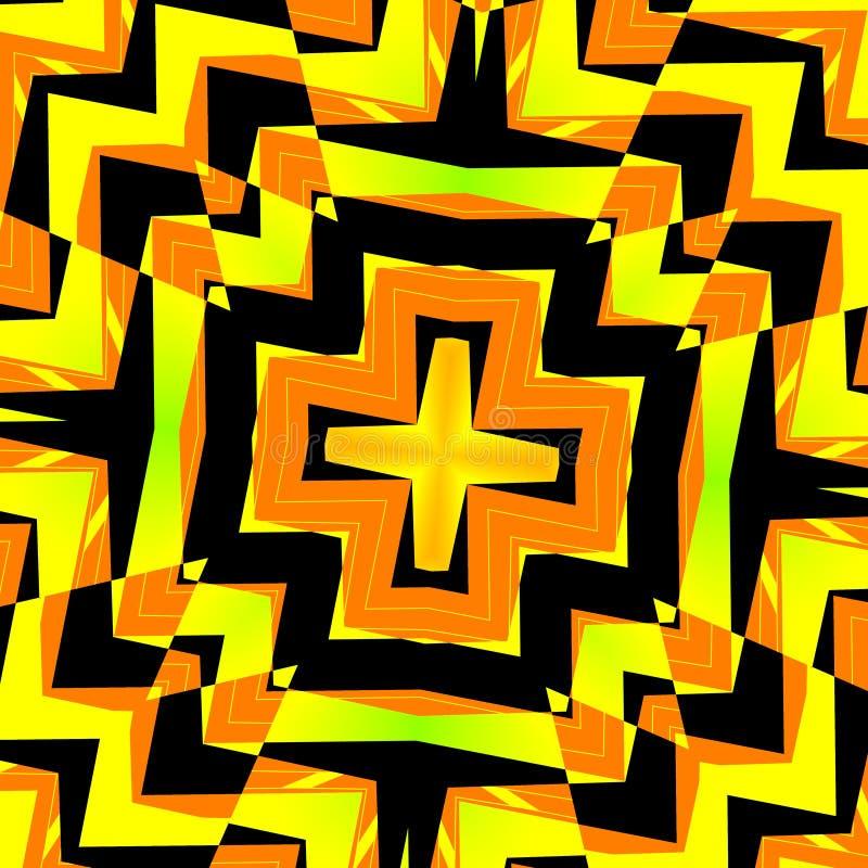 Fundo abstrato do caleidoscópio - amarelo preto ilustração royalty free