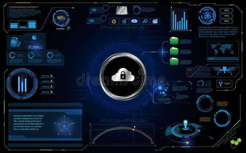 Fundo abstrato do conceito da inovação da segurança da tecnologia da relação UI de HUD ilustração stock