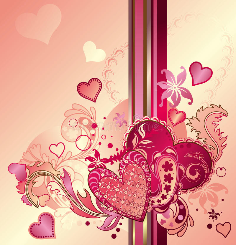 Fundo abstrato do coração dos Valentim ilustração royalty free