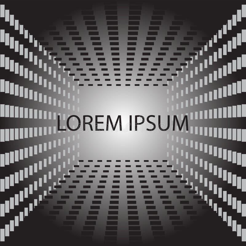 Fundo abstrato do cubo em preto e branco Elemento do projeto do blyer da tampa minimalism Imagem do vetor ilustração stock