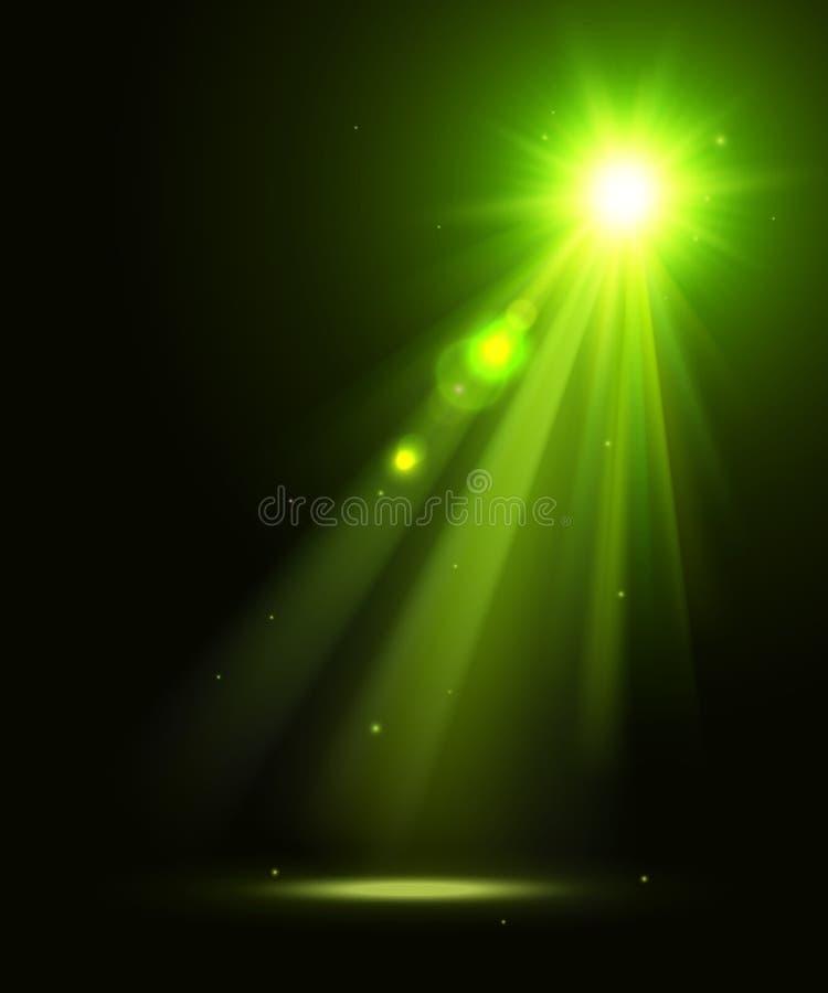 Fundo abstrato do disco com luzes verdes do ponto ilustração stock