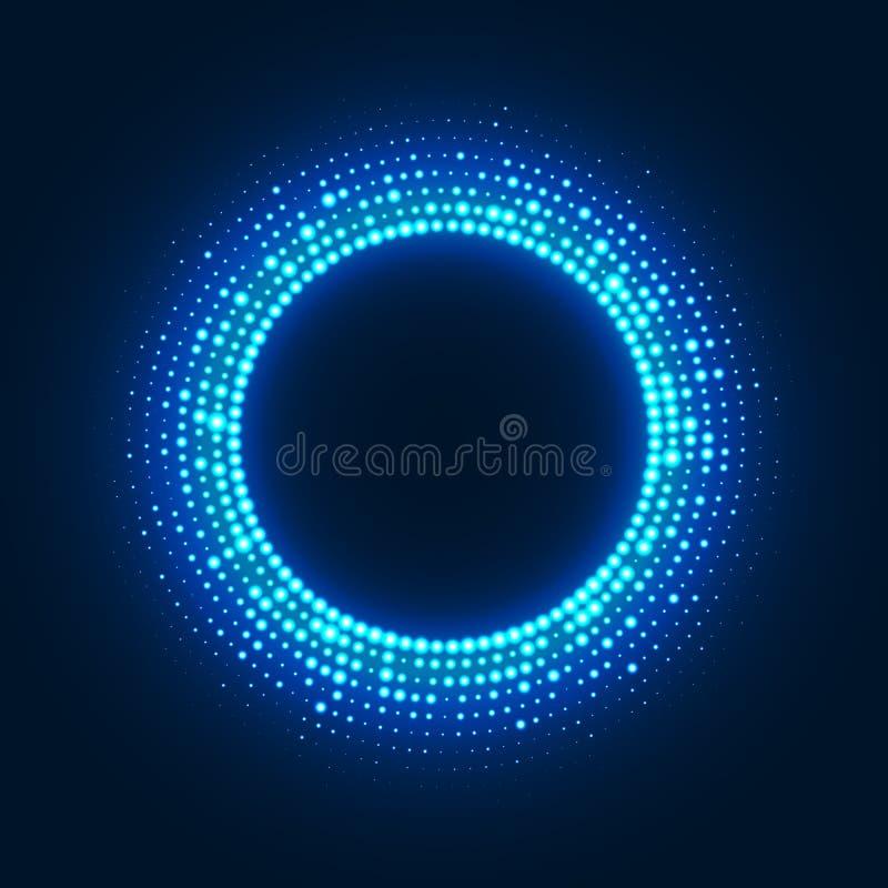 Fundo abstrato do disco com reticulação de incandescência de néon do círculo ilustração do vetor