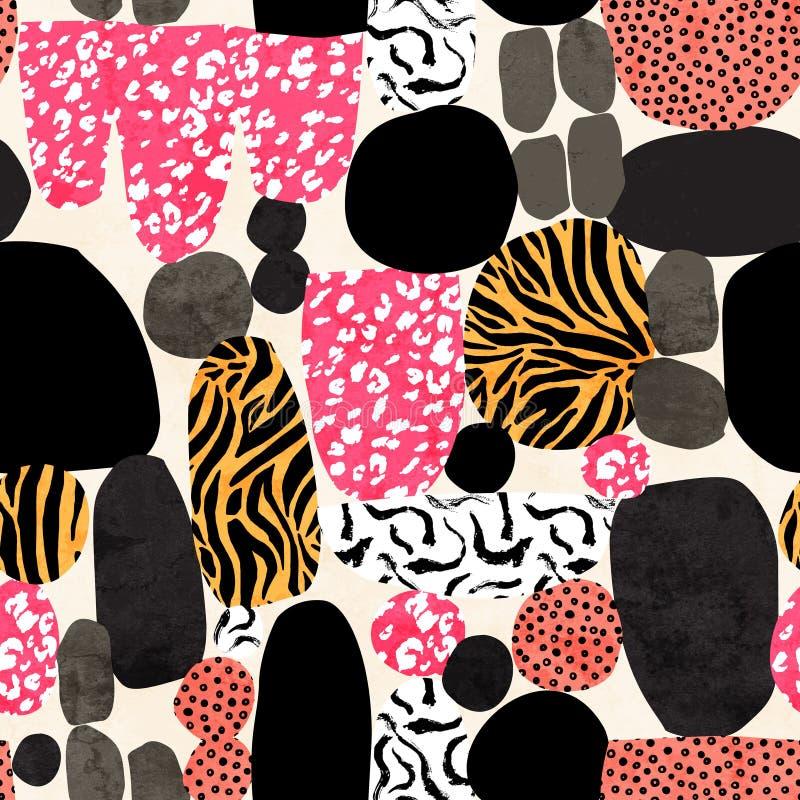 Fundo abstrato do divertimento Formas geométricas diferentes com pele animal, cursos da escova do grunge, textura da garatuja ilustração stock
