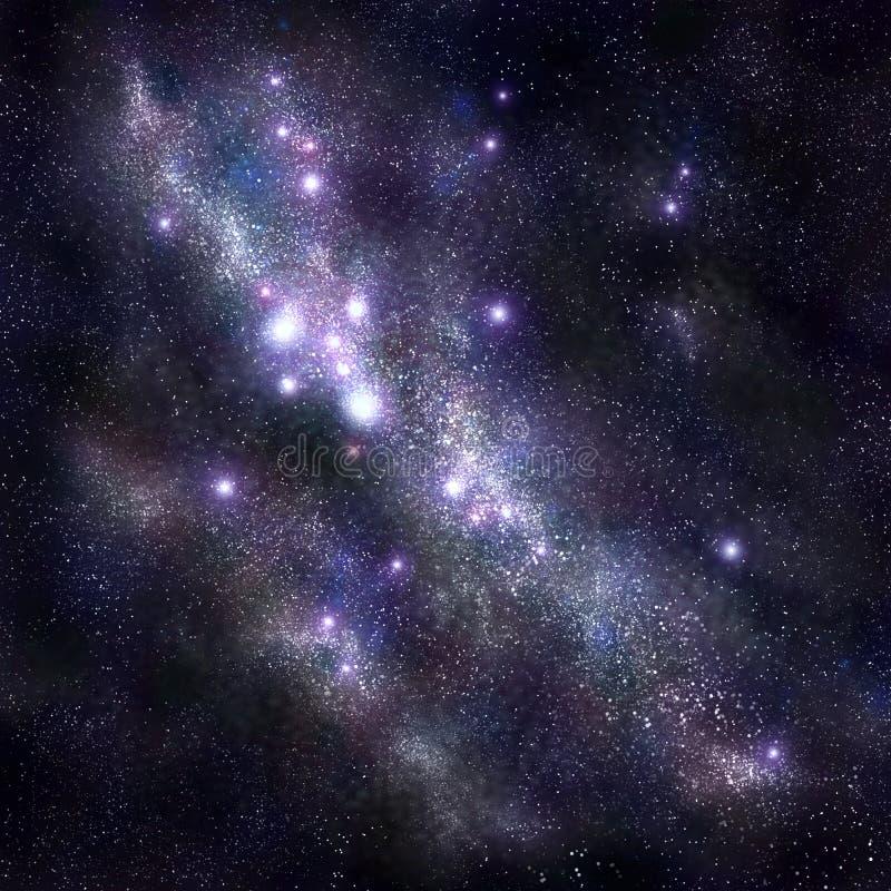 Fundo abstrato do espaço com estrelas e starfield, nebulosa ilustração stock