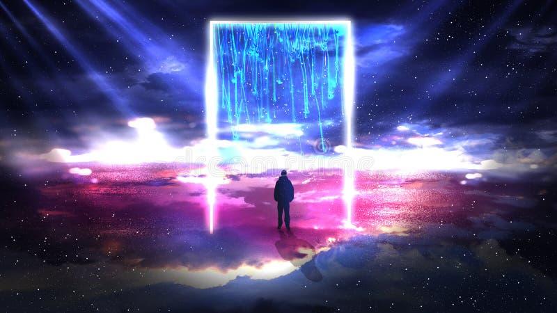 Fundo abstrato do espaço, lâmpadas de néon, triângulo claro, brilho, raios, fumo ilustração royalty free