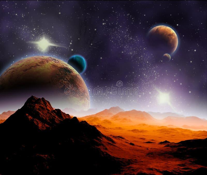 Fundo abstrato do espaço profundo. ilustração do vetor